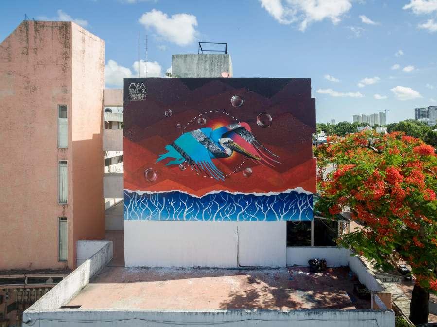 Crea, Sea Walls: Artists for Oceans Street art festival Cancun, Mexico 2017. Photo Credit The Stills Agency.