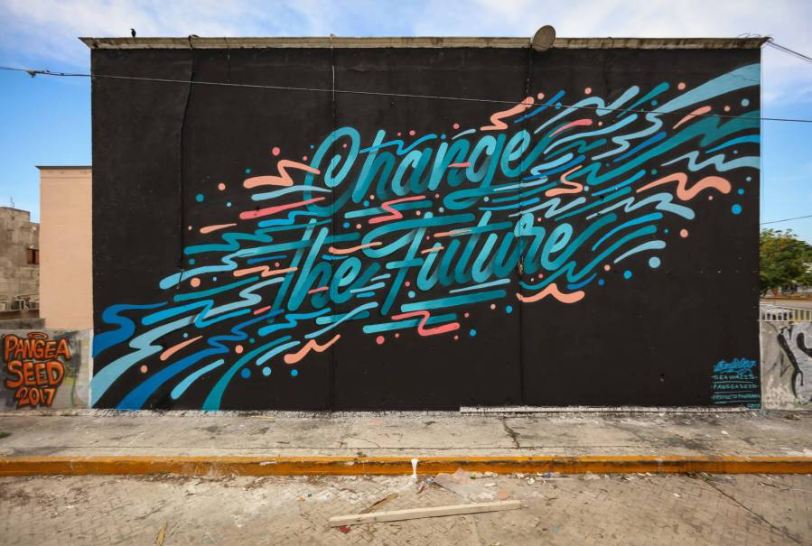 Its A Living, Sea Walls: Artists for Oceans Street art festival Cancun, Mexico 2017. Photo Credit Tre' Packard.