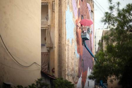 Kevin Ledo, Facing the Future, Street Art Mural, Paint Outside The Lines Beruit, Lebanon 2017. Photo Credit aptART