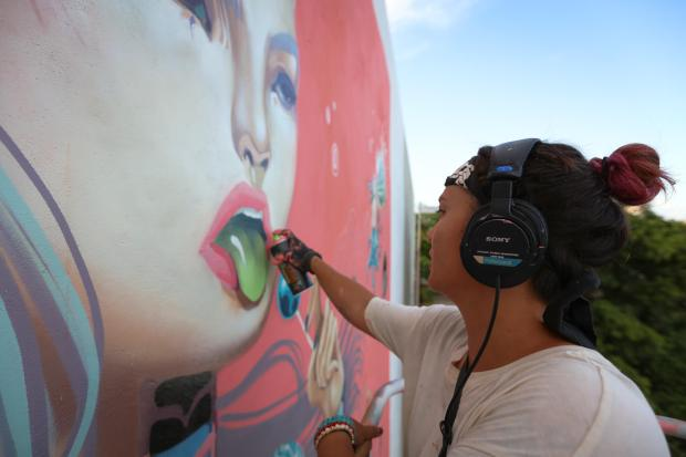 Lauren YS, Sea Walls: Artists for Oceans Street art festival Cancun, Mexico 2017. Photo Credit Tre' Packard.