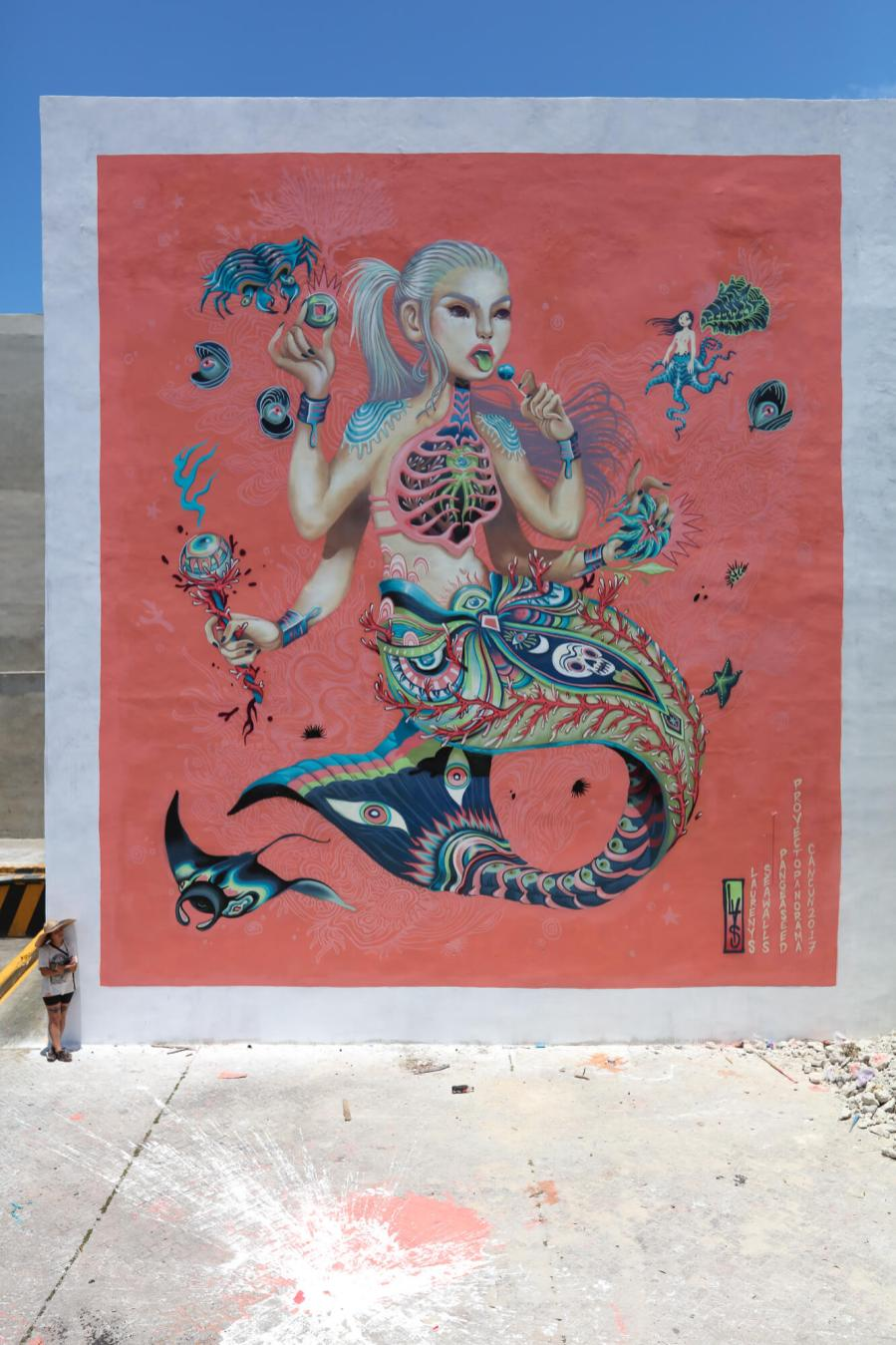 Lauren YS, Sea Walls: Artists for Oceans Street art festival Cancun, Mexico 2017. Photo Credit Tre' Packard.