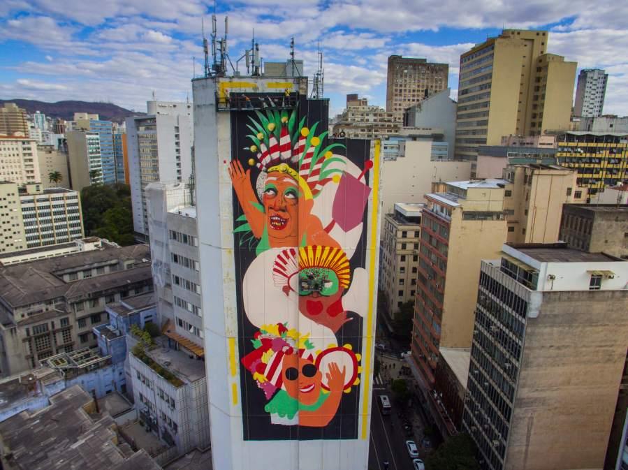 Marina Capdevila, CURA Street Art Festival, Belo Horizonte, Brazil 2017. Photo Credit Instagrafite