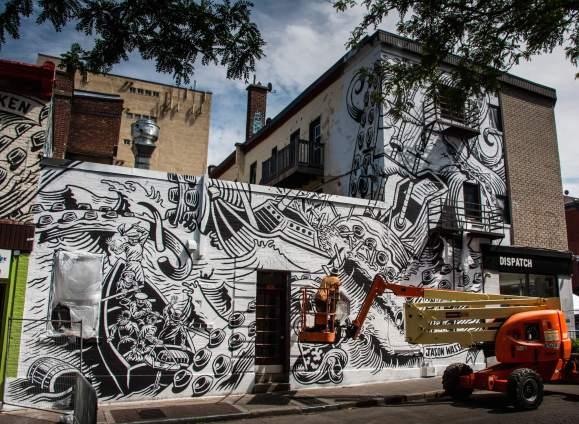 Jason Wasserman, Mural International Public Street Art Festival, Montreal, Canada 2017. Photo credit Instagrafite