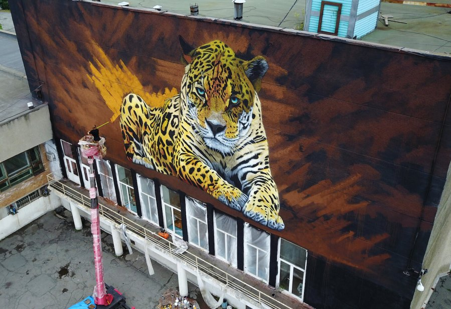 Sonny, To the Bone Street Art Mural, Far Eastern Leopard, Vladivostok Russia 2017. Photo Credit YuriySmityuk.