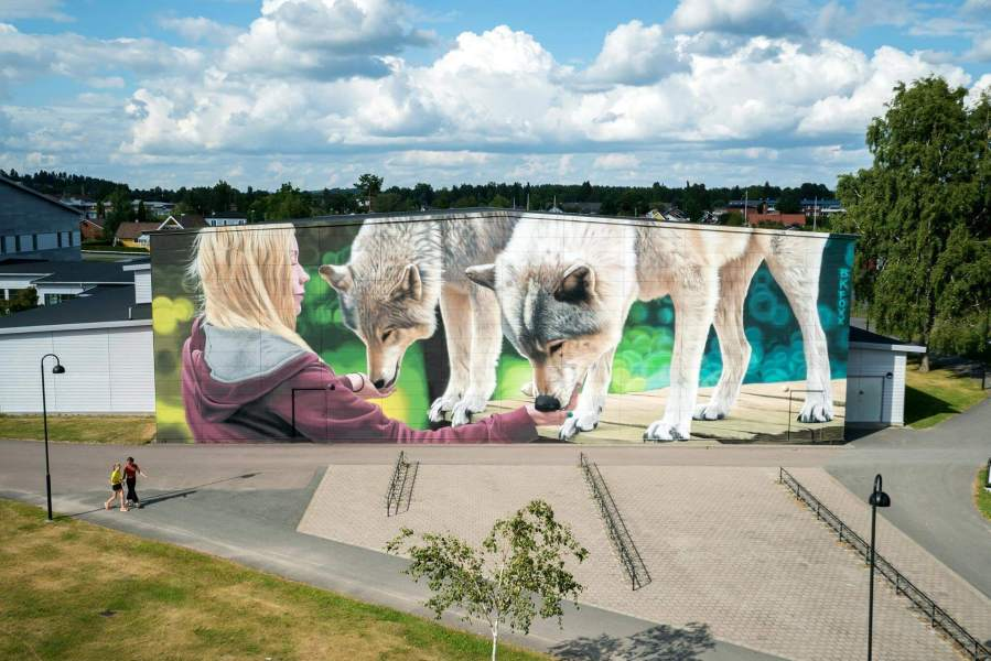 BKFoxx, Artscape Street Art Festival, White Moose Project, Sweden 2017. Photo credit Fredrik Åkerberg.