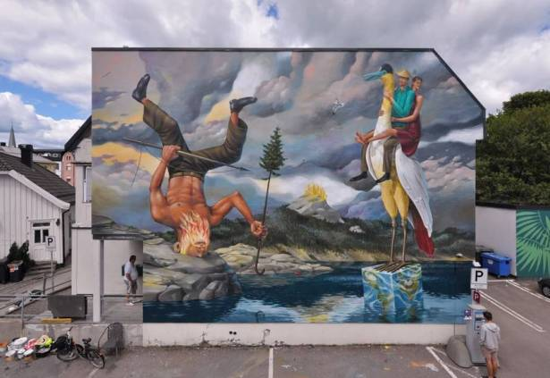 Aec Interesni Kazki, Art for All in the World, Street Art Project, Sandefjord Norway 2017. Photo Credit Art for All in the World.