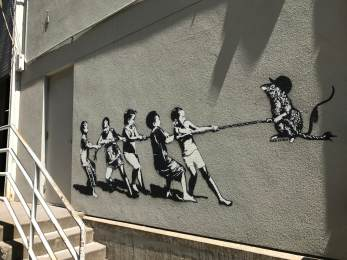 Blek le Rat, 20x21EUG Mural project, Hult, Centre of Performing Arts, Eugene 2017. Photo Credit Debbie Williamson Smith