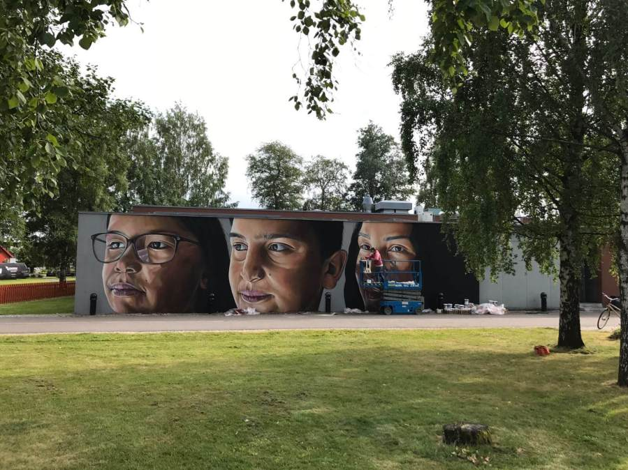 Matias, Art for All in the World, Street Art Project, Sandefjord Norway 2017. Photo Credit Art for All in the World.