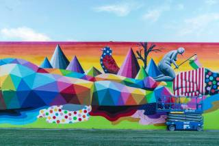 Okuda, Life is Beautiful, Urban Art Festival, Downtown Las Vegas 2017. Photo Credit Justkids