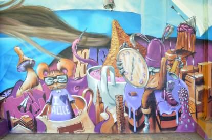 BKfoxx and Zeso, Alice in Wonderland Street Art Mural series 2 ' Day Dreaming' 2017. Photo Credit BKfoxx