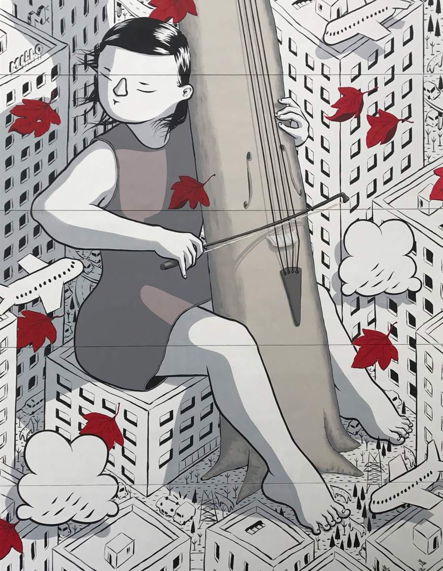 """Millo, Street art Mural """"Sound of you """" Shanghai, China 2017. Photo Credit Millo"""