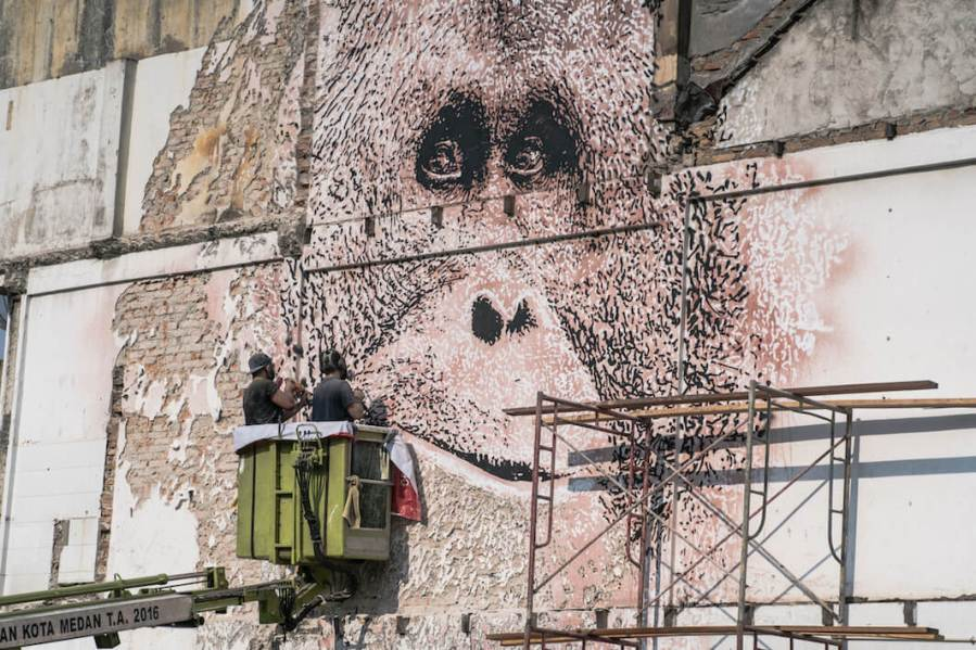 Vhils, Splash & Burn 2018. Photo Credit Skaiste
