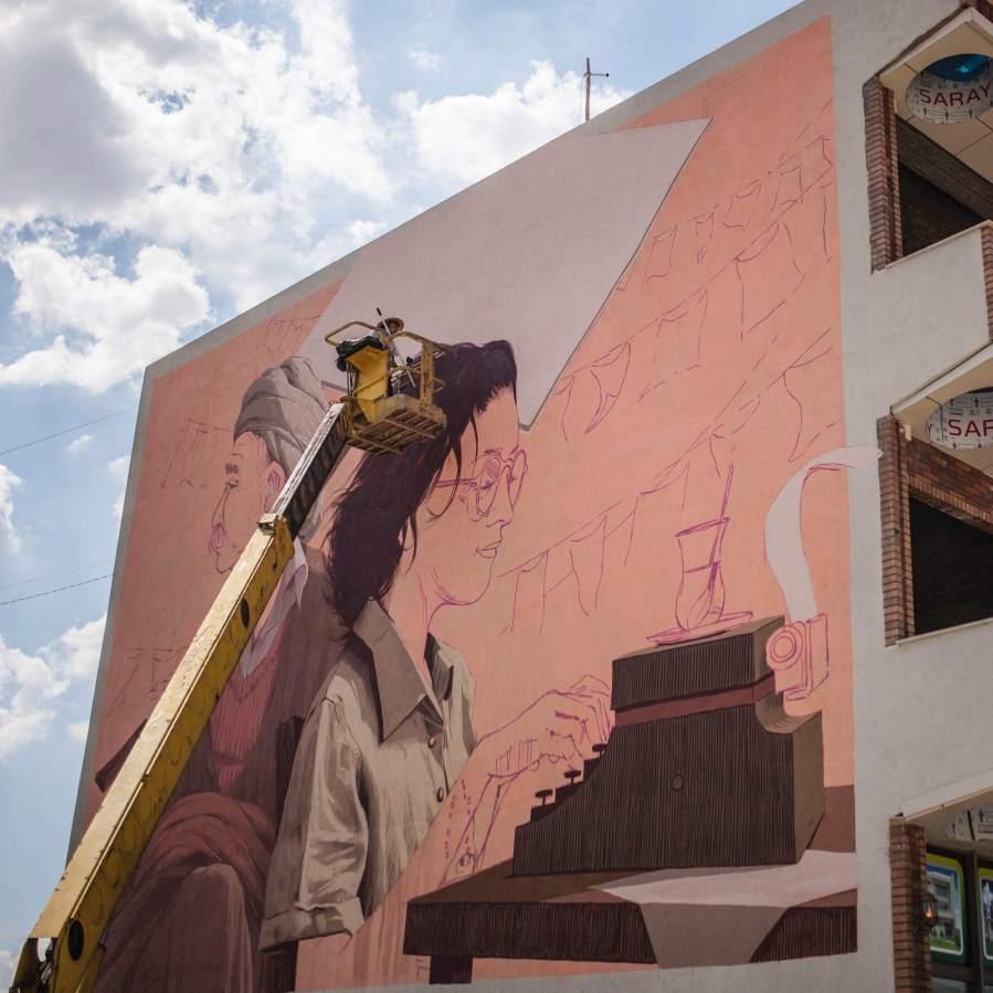 Pat Perry, Street Art Mural, Iraq 2018. Photo credit AptART