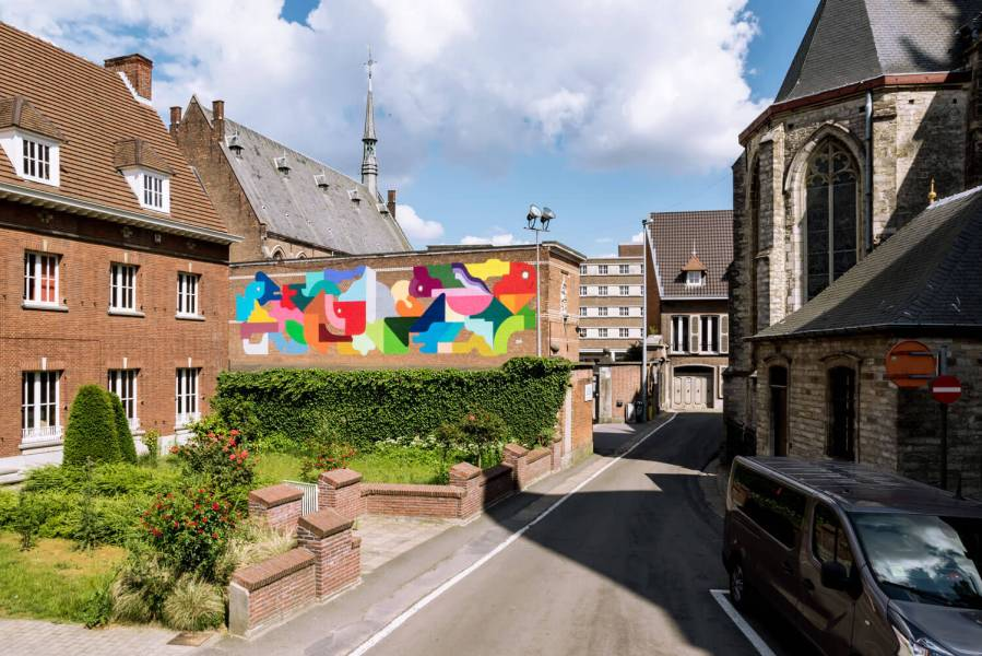 Oli B, Kaleidoscope Street Art Festival, Dendermonde, Belgium 2018. Photo Credit Henrik Haven