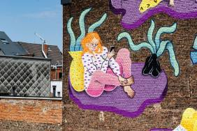 Joëlle Duboi, Kaleidoscope Street Art Festival, Dendermonde, Belgium 2018. Photo Credit Henrik Haven