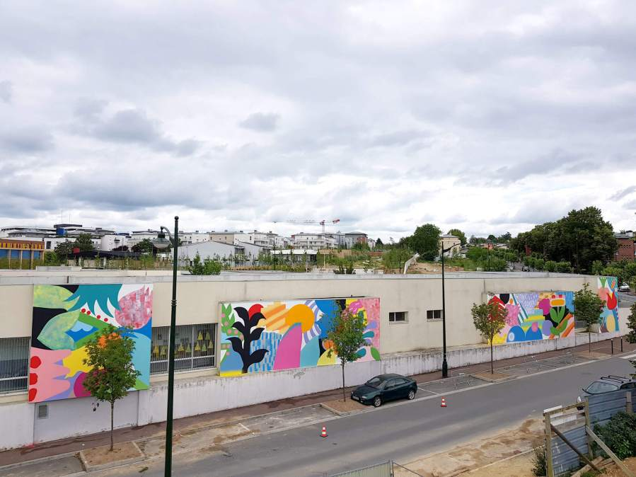 Mina Hamada and Zosen Bandido Wall Street Art Festival 2018, Corbeil-Essonnes, Paris. Photo Credit Galerie Mathgoth
