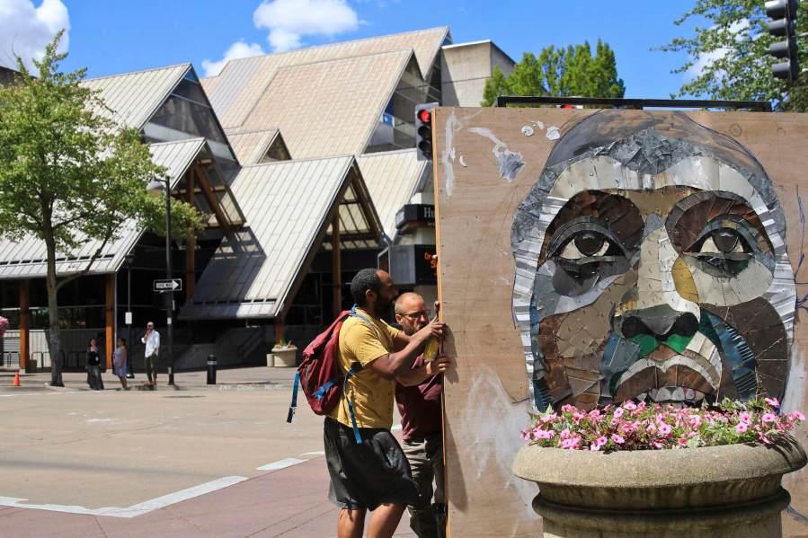 Matt Small, Jesse Owens Tribute, Re-claimed materials Sculpture, 20x21EUG Mural Project, Eugene, Oregon. Photo Credit Athena Delene