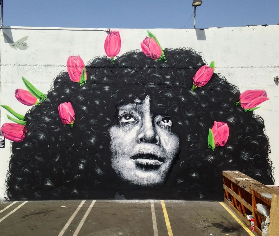 Nils Westergard, Girl with Flowers Mural 2018.