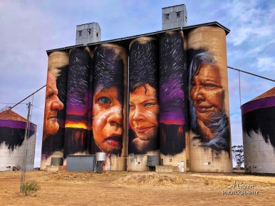 Adnate, Wimmera-Mallee Trail Silo Art Trail -Sheep Hill is the fifth silo in the Australian Silo Art Trail. Photo Credit Annette Green