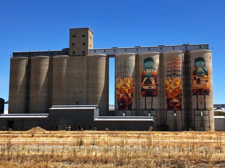 Kyle Hughes-Odgers – PUBLIC Silo Trail of Western Australia –Merredin Silos were completed in 2017. Photo Credit Annette Green