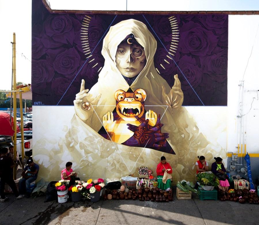 "INTI, Street Art ""Quatlicue and the Jaguar"" Mural, Mexico 2018. Photo Credit INTI"