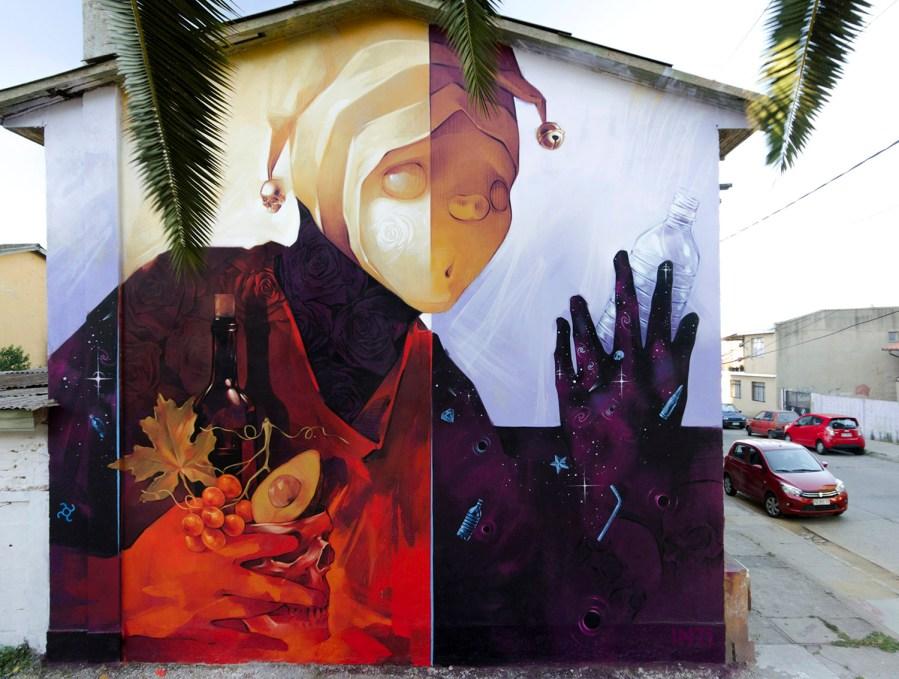 "INTI, Street Art ""Natural resources 1"" Mural, Chile 2018. Photo Credit INTI"