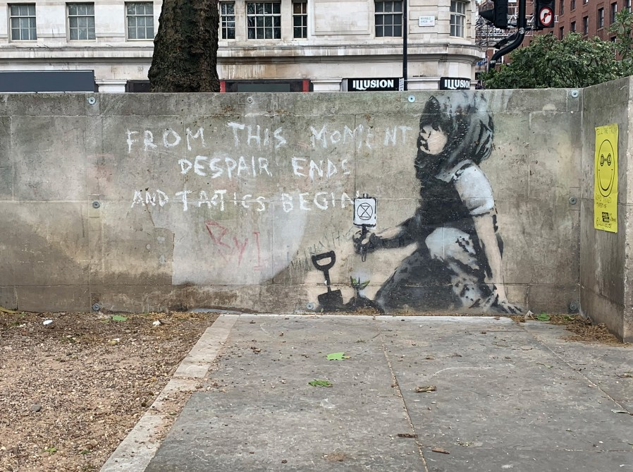 Banksy Mural, Extinction Rebellion protests, Marble Arch, London 2019. Photo Credit GraffitiStreet