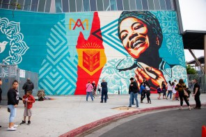 Shepard Fairey, Maya Angelou Mural Festival, Dr. Maya Angelou community School 2019. Photo Credit Kelly Fogel