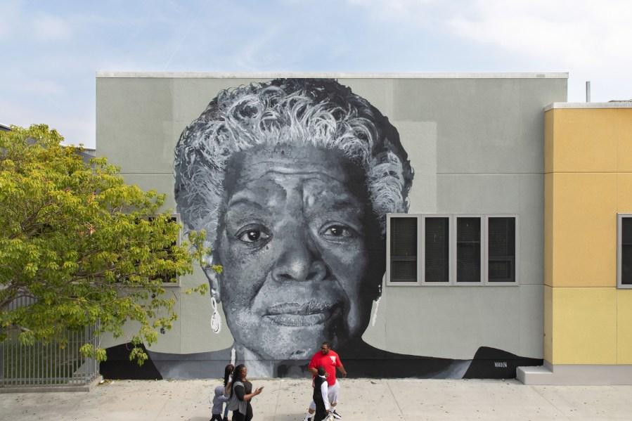 Shawm Michael, Maya Angelou Mural Festival, Los Angeles 2019. Photo Credit Static Medium