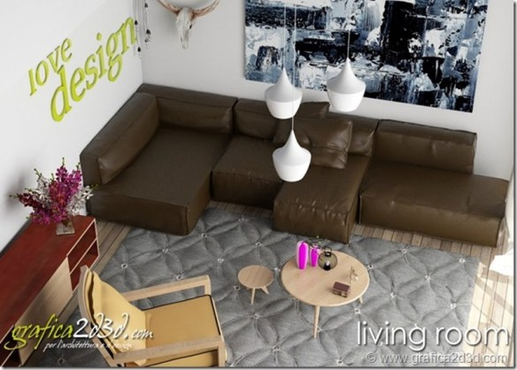 Living room house T. vray sketchup settaggi scena