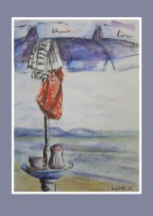 Postkarte Cafe am Meer