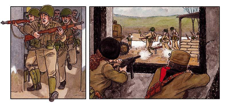 Soldados de Batista luchando con Guerrilleros de Camilo Cienfuegos. Cómic ARDE CUBA