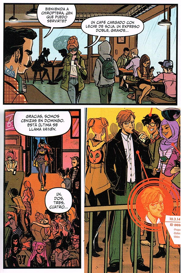 Pagina del cómic de Batgirl entrando en un bar