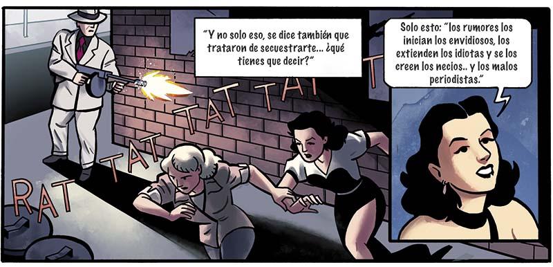 Objetivo Hedy Hamarr es un cómic de espionaje lleno de acción y ciencia. Dibujado por Ángel Muñoz, con guión de Ricardo Bilbor y color de Abel Pajares