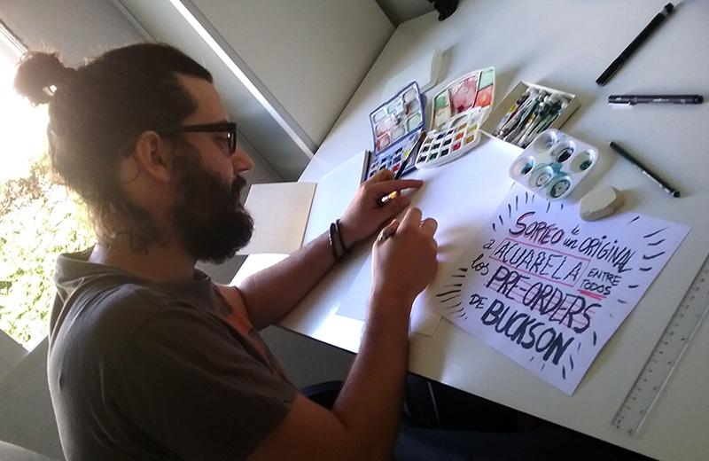 Victor Araque regala un dibujo original de su comic BUCKSON