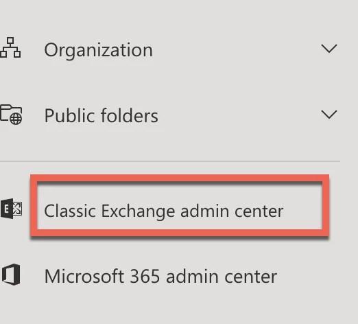 Classic Exchange Admin Center