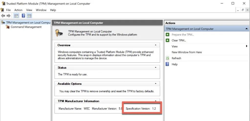 TPM Version Check > Now 1.2
