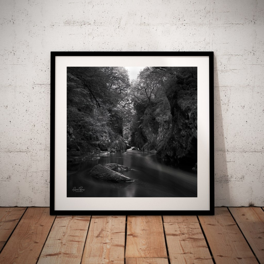 Fairy Glen Betws-y-coed Wales Black and White framed