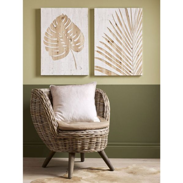 Exotic palm leaf wood panel wall hangings
