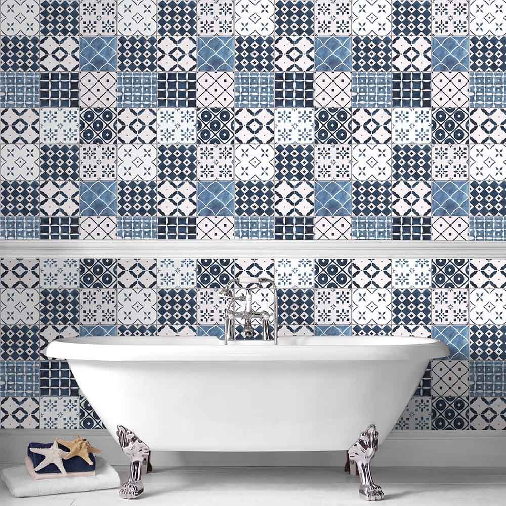 Wallpaper for Bathrooms   Powder Room Wallpaper     large Porches Blue Wallpaper