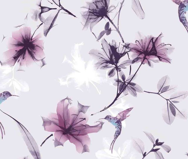 X Ray Floral Purple Wallpaper Large