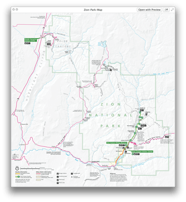 Zion National Park Map PDF The Narrows