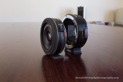 Metabones EF Adapter with Canon EF 40mm 2.8 side by side