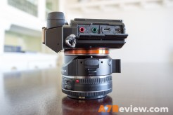 Sony A7R with Metabones EF Adapter and Canon 40mm 2.8 and Metabones EF Adapter side
