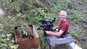wildlife cameraman Graham Horder filming harvest mice on location