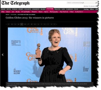 Adele at Golden Globes - Daily Telegraph