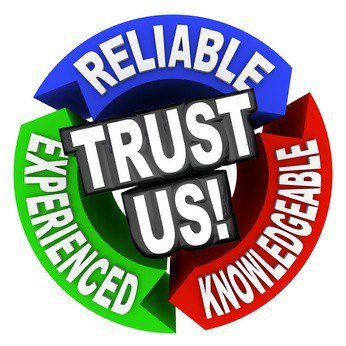 The words Trust Us surrounded by arrows in a cirle diagram pattern each with a word - reliable, experienced, knowledgeable