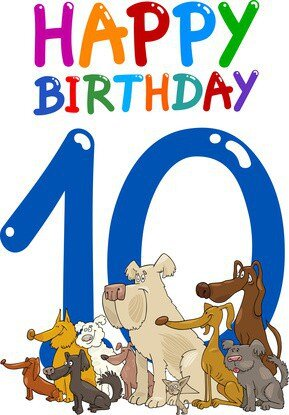 cartoon illustration design for tenth birthday anniversary