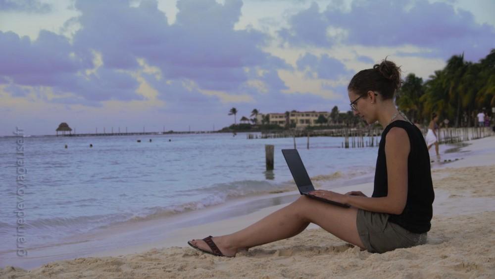 blogging plage ordinateur