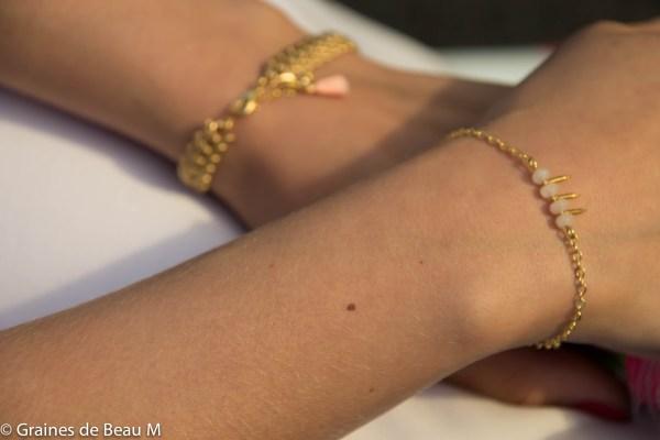 Bracelet Lota et Eva, doré, blanc et rose saumon GBM2